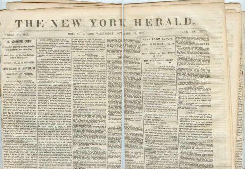 New York New York City Newspaper Title: New York Herald Date: Nov-28-1860~3