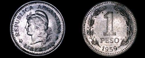 1959 Argentina 1 Peso World Coin