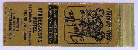 New York Plattsburgh Matchcover Advertising Studebakers Motel Rt 9 1/2 Mil~133