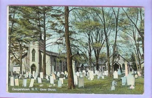 New York Cooperstown Christ Church View Large Graveyard w/Large Old Stone ~178