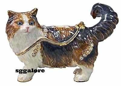 New RUCINNI Swarovski Crystals BeJeweled PERSIAN CAT Trinket Jewelry BOX CATS