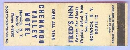 New York Norwich Matchcover Advertising Chenango Valley Motel Rt 12 Norwic~124