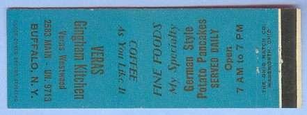 New York Buffalo Matchcover Advertising Veras Gingham Kitchen 2583 Main Bu~154