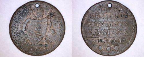 1802 Italian States Papal States 1 Baiocco World Coin - Holed