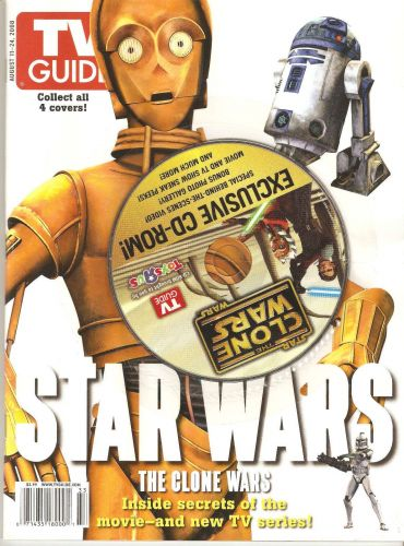TV Guide Star Wars - The Clone Wars - Magazine w/ Exclusive cd-rom Aug 2008