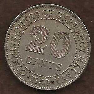 Malaya Malaysia 20 Cents 1950 Coin