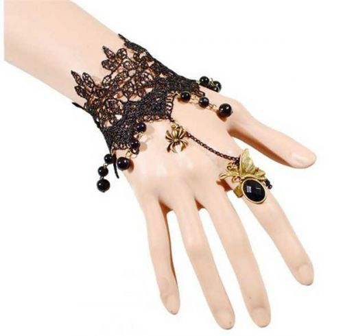 Black lace bead ring bracelet