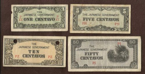 Japan WWII Invasion Four (4) Small Note TYPE SET3 -1, 5, 10, & 50 Centavos Rare!