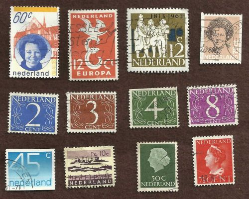 Netherlands Collection of 12 USED Stamps