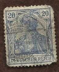 GERMANY SAAR USED STAMP - 20 Pf - DEFINITIVE GERMANIA