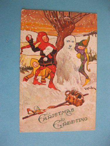 CHRISTMAS GREETINGS CHILDREN SNOWBALL FIGHT 1910 (#280)