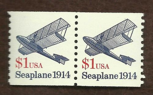 US 1998, #2468 $1 Seaplane, Strip of 2 stamps, MINT UNUSED