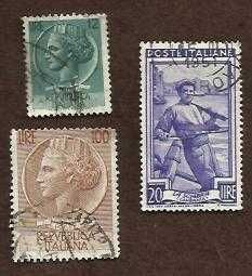 ITALY SET OF 3 USED STAMPS: N1986 ITALY 20 LIRE, LIRE 20 & 12 LIRE