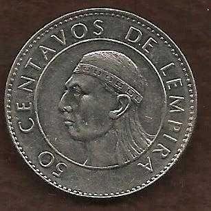 Honduras 50 Centavos 1991 Coin, Lempira Brave