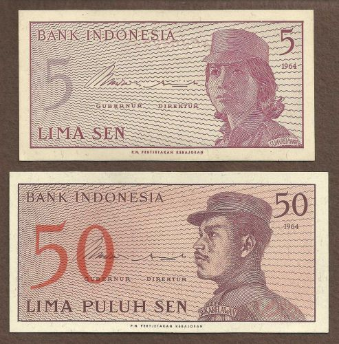 Indonesia 1964, 5 and 50 Sen Banknote UNC