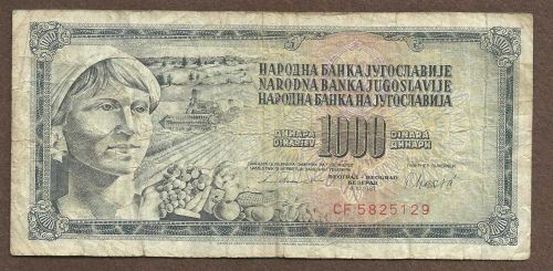 YUGOSLAVIA 1000 DINARA 1981 Banknote CF 5825129
