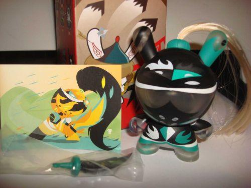 "Kidrobot Dunny 3"" 2014 Art of War Patricio Oliver Teal Knight Vinyl Figure Toy"