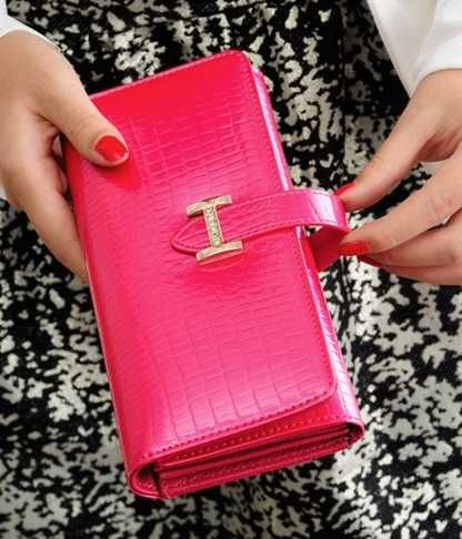 New Fashion Leather lady women long purse clutch wallet zip card holder red