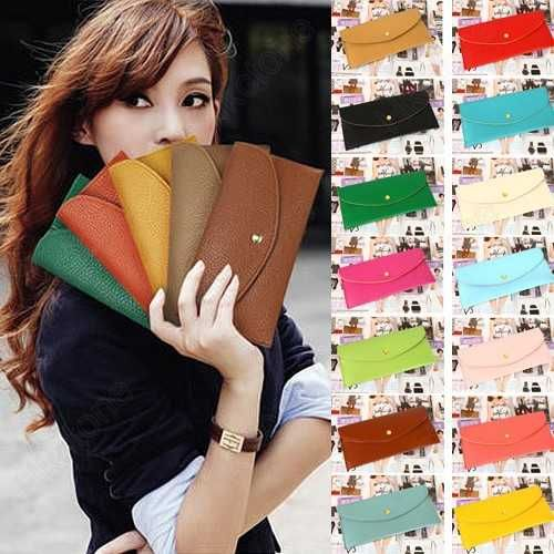 Womens Wallet Card Holder Clutch Purse Faux Leather Envelope Candy Colour