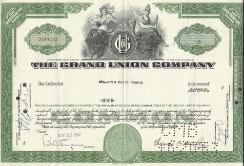 The Grand Union Co Stock Certificate 7 Shares 1962 Certificate 0169233