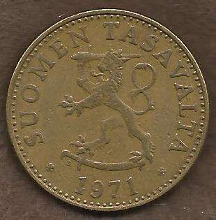 Finland 50 Pennia 1971 Rampant Lion Shield Scandinavian Coin - Great Coin!