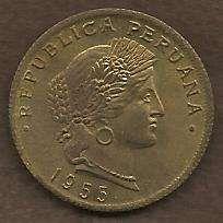 Peru 20 Centavos 1955 Coin