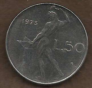 Italy 50 Lire 1973 - Beautiful Coin!