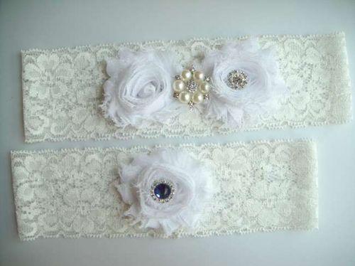 Wedding Garter, Bridal Garter Set - White Lace Garter, Keepsake Garter,