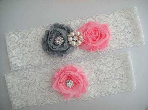 Gorgeous wedding garter set includes toss and keepsake garters. It is handmade