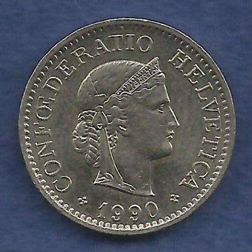 Switzerland 10 Rappen 1990 Libertas Goddess of Liberty Coin Excellent Detail!