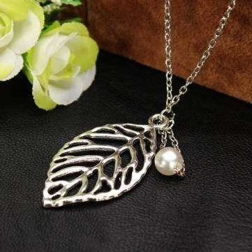 Silver plated leaf with pearl necklace