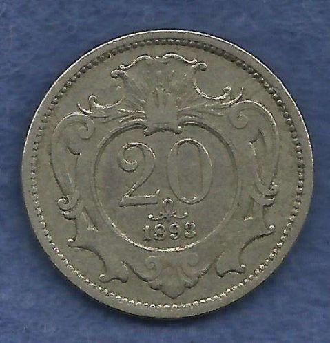 Austria 20 Heller 1893 Coin - Eagle Franz Joseph I Europe- Nice Coin!