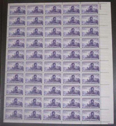 US, Scott# 950, three cent Utah Settlement sheet of 50 stamps
