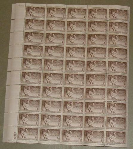 US, Scott# 968, three cent Poultry Industry sheet of 50 stamps
