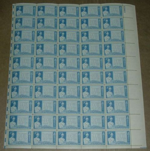 US, Scott# 978, three cent Gettysburg Address sheet of 50 stamps