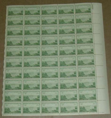 US, Scott# 990, three cent Executive Mansion sheet of 50 stamps