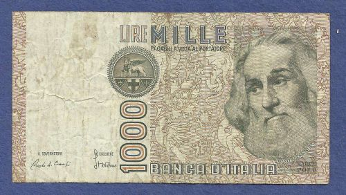 1982 Italy 1000 Mille Lire Note BB 105543 H - Marco Pollo