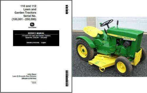 John Deere 110 and 112 Lawn and Garden Tractor Service Repair Manual CD - SM2088