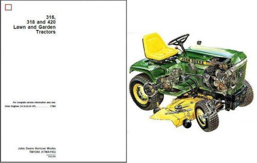 John Deere 316 318 420 Lawn & Garden Tractor Service Repair Manual CD