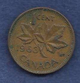 Canada 1 Cent 1963 RED Canadian Canada Maple Leaf Elizabeth II Penny