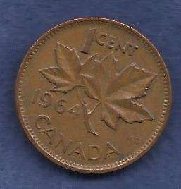 Canada 1 Cent 1964 RED Canadian Canada Maple Leaf Elizabeth II Penny