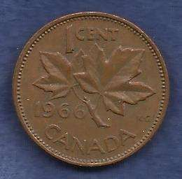 Canada 1 Cent 1966 RED Canadian Canada Maple Leaf Elizabeth II Penny