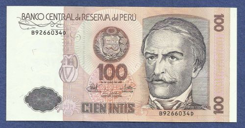 1987 Central Bank of Peru 100 Intis Note B9266034D