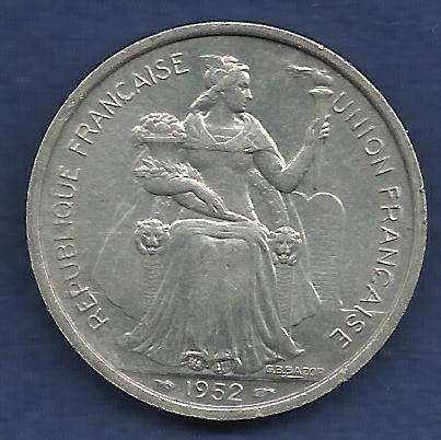 France 5 Francs 1952 FRENCH OCEANIA NOVVELLE.CALEDONIE