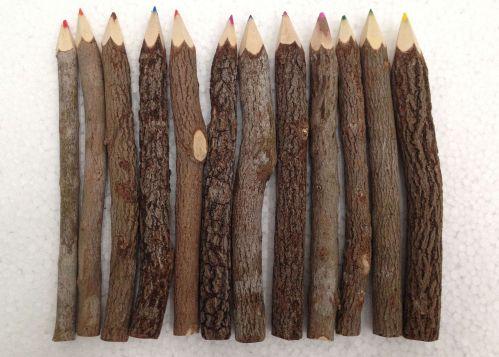 "7"" Rustic Twig Colored Pencils Set of 12 pcs Tree Branch Wood Color Pencil"