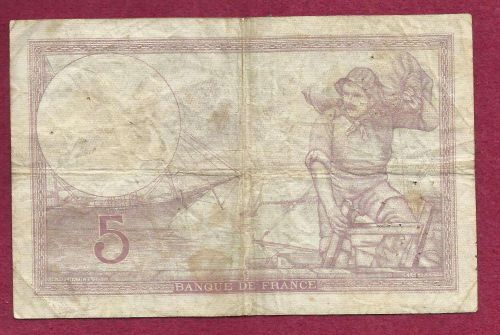 FRANCE 5 Francs 1939 Note R.64159 (P83) - HISTORICAL WWII Era Currency !!!