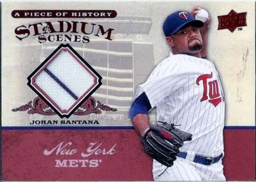 Johan Santana 2008 UD A Piece of History Stadium Scenes Jersey #SS36, White Striped