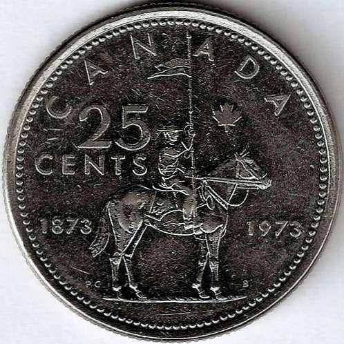 1973 Canadian Commemorative 1873-1973 RCMP Centennial Quarter