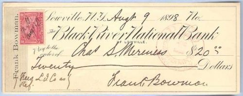 New York Lowville Cancelled Check Black River National Bank Check # Dated:~6