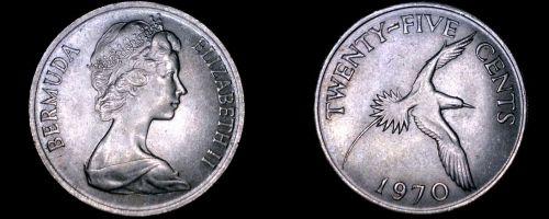 1970 Bermuda 25 Cent World Coin